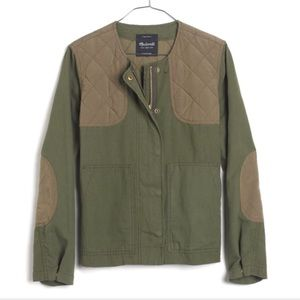 Madewell quilted bomber jacket in green cotton